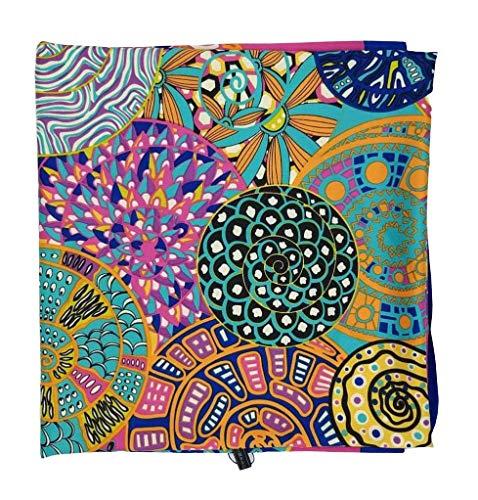 Goods4good Fular/bufanda/pañuelo grande(132x130cm) con tacto de seda suave, ligero y elegante, cuadrado, de colores y diseño con elefantes hindúes. Diseñado en Italia. (Rosa ciclan)