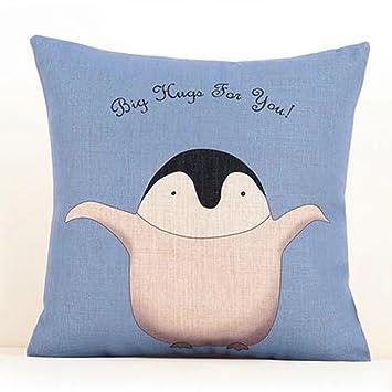 Gabriera Cotton Linen Decorative Cute Penguin Throw Pillow Cover