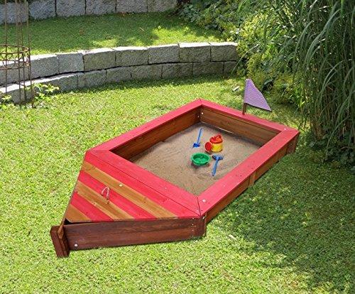 Coemo Sandkasten Boot-Form Piraten-Schiff Holz mit Stauraum Geheimversteck Holzsandkasten Rot oder Blau