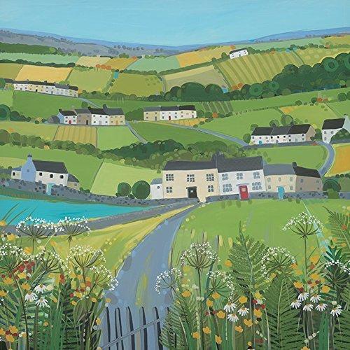 Janet Bell grün Fields 40x 40cm Leinwand Prints, Mehrfarbig