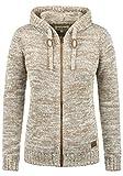 DESIRES Philadelphia Damen Winter Strickpullover Troyer Grobstrick Pullover mit Kapuze, Größe:XXL, Farbe:Dune (5409)