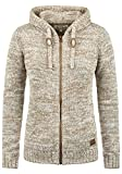 DESIRES Philadelphia Damen Winter Strickpullover Troyer Grobstrick Pullover mit Kapuze, Größe:M, Farbe:Dune (5409)