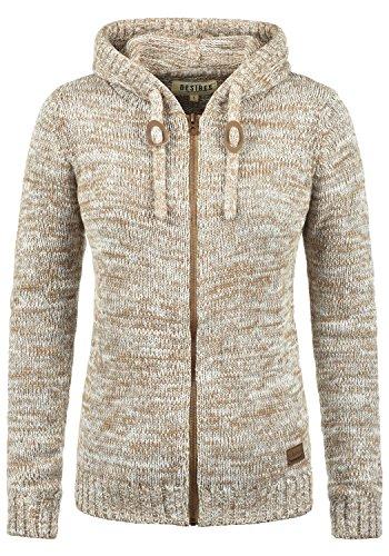 DESIRES Philadelphia Damen Winter Strickpullover Troyer Grobstrick Pullover mit Kapuze, Größe:S, Farbe:Dune (5409)