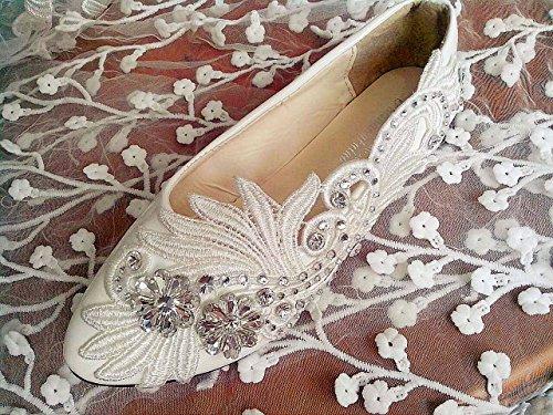 Jingxinstore Blanc Cristal Dentelle Mariée Chaussures De Mariage 7.5cm / 3inch Talon, Ivoire