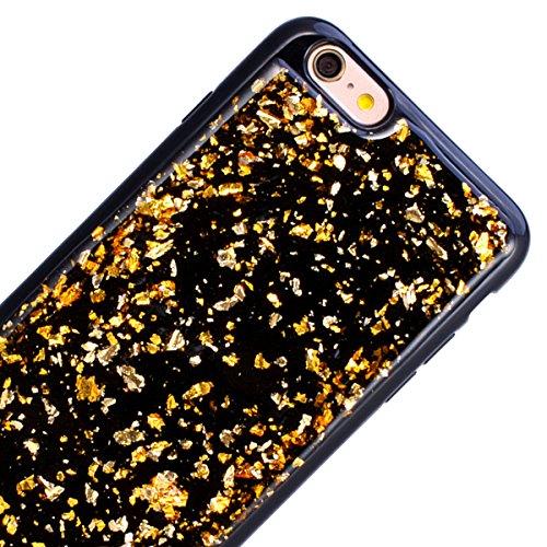 WE LOVE CASE iPhone 6 / 6s Cover Glitter Nero Argento iPhone 6 / 6s Custodia Case Silicone Soft Flessibile Elegant Belle Protettiva , Antiurto Ultraslim Bumper , TPU Gel Gomma Morbido Protezione , Gir Gold