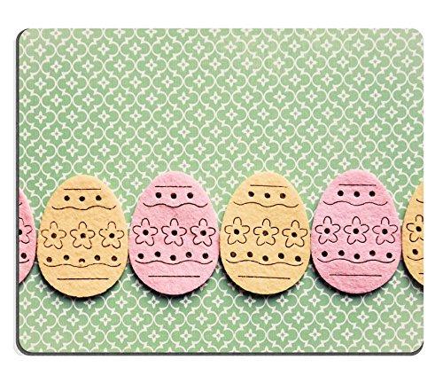 Luxlady gaming mousepad foto id: 25964620 decorazioni pasquali a forma uova, in feltro, colore: giallo e rosa su sfondo verde