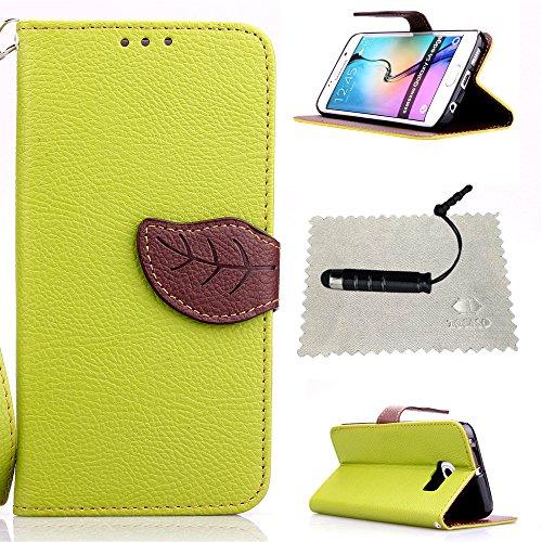 Schutzhülle für Samsung Galaxy S6 Edge,TOCASO Grün Leder Tasche für Samsung Galaxy S6 Edge Hülle Flip Wallet Case, Leather Handyhülle Silikon Tasche r Schutzhüllen Schwarz für Samsung Galaxy S6 Edge