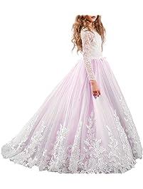IWEMEK Appliques Vestido de Niña de Flores de Manga Larga de Cordón Tul Princesa Boda Vestidos