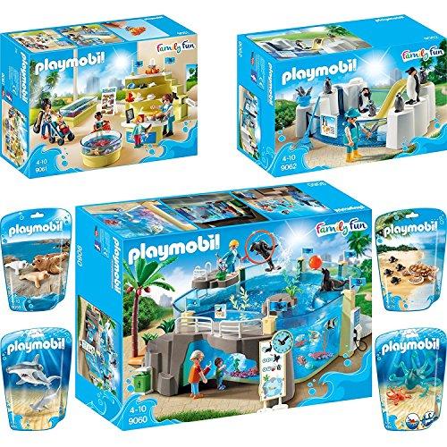 PLAYMOBIL® Family Fun 7er Set 9060 9061 9062 9065 9066 9069 9071 Meeresaquarium + Shop + Pinguinbecken + Vier Tiere