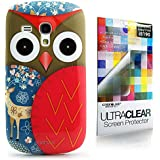 CaseiLike � rot, Owl-Grafik-Design, Snap-on Koffer wieder cover f�r Samsung Galaxy S3 Mini i8190 mit Displayschutzfolie 1pcs.