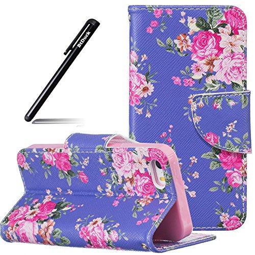 btduck-coque-de-protection-housse-etui-pour-apple-iphone-5s-5-se-flip-case-cover-brillant-soie-pourp