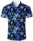 Goodstoworld Hawaii Hemd Herren Bunte Hemden Hochzeit Männer Slim Fit Dunkelblau Kurzarm Shirt 3D Bedruckte Herrenhemden