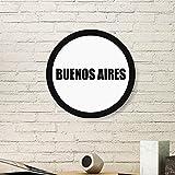 DIYthinker Pintura Argentina Buenos Aires Nombre del Arte de la Foto del Cuadro Redondo de Madera del hogar del Marco Regalo decoración de la Pared Medio Negro