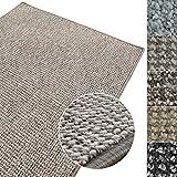 Kurzflor Teppich Carlton | Flachgewebe dezent gemustert | robuster Schlingenteppich in vielen Größen | als Wohnzimmerteppich, Küchenteppich, Schlafzimmerteppich (Grau-Beige - 140x200 cm)