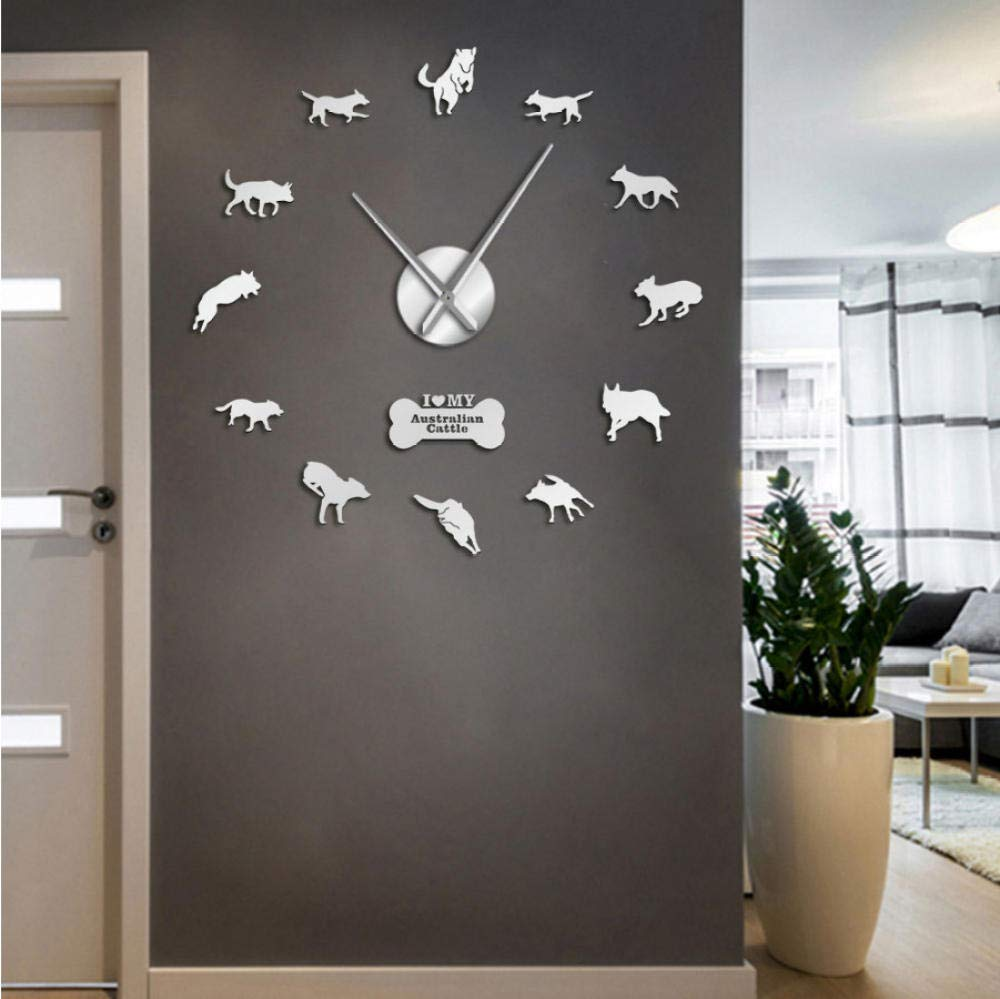 Dwqlx 37Inch Silver Australian Cattle Dog Large Wall Clock Dog Breed Australian Heeler Wall Art Puppy Home Decor Big…