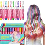 GirlZone HAIR CHALK BIRTHDAY GIFTS FOR GIRLS: 10 Colourful Pens- Washes Out Easily - No Mess – 10 Metallic, Glitter & Colour Pens For All Hair Colours – For age 3 4 5 6 7 8 9 + years old