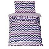 Parure de lit bébé avec DESIGN REVERSIBLE - ZigZag Violet 100x135 Cm