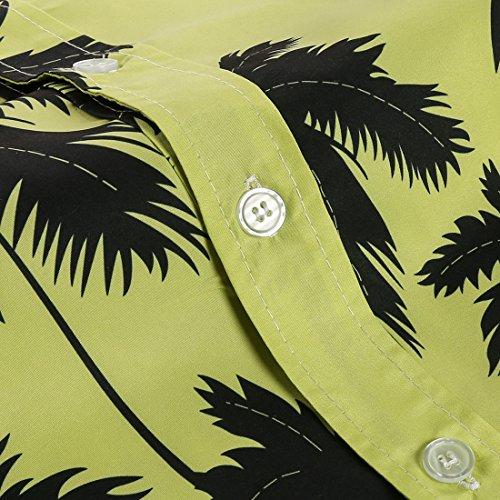 APTRO Chemsie Aloha Hawaienne Manches Courtes Chemise de Plage de Voyage de Pêche Comfortable Respirable Séchage Rapide Homme ST19-22 Vert