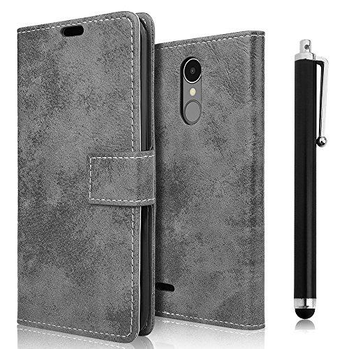 LG K8 2017 Hülle, zStarLn Hülle für LG K8 2017 Hülle PU Leder Tasche Handytasche Zubehör Schutzhülle Etui + Stylus pen und 3 Films Schutzfolie (retro-grau)