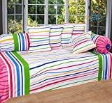 #9: Home Elite Multicolored Cotton Diwan Set ( Pack Of 8 Piece)