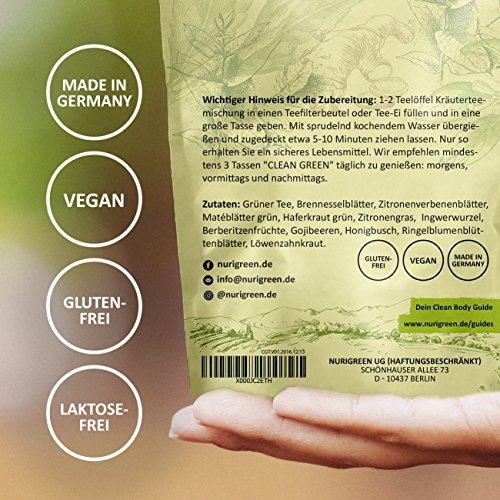 Clean Green Detox Tee – schnell und wirksam – 14 Tage Body Detox Tee Kur – 100% natürliche Kräuterteemischung – Grüner Tee, Brennnessel, Ingwer & Gojibeeren – Hergestellt in Deutschland – für Frauen und