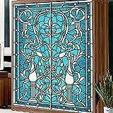 Yazi tamaño personalizado porche cocina puerta corredera Decor adhesivo Opacidad autoadhesivo Póster Mural de armario azul Vines