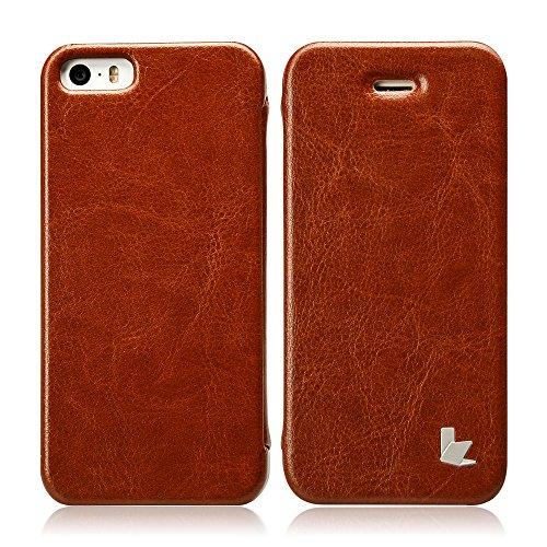 Jisoncase ELEGANT Hülle für iPhone 5 / iPhone SE / iPhone 5S Handytasche Schwarz Flip Case Cover für Apple Phone mit integriertem Magnetverschluss Tasche JS-ISE-01M10 braun