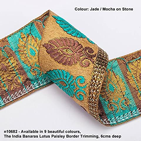 Neotrims Lotus Paisley Floral Jacquard Silk Handle Ribbon Trim Decoration;