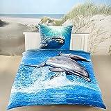 3D Digitaldruck Bettwäsche Delphin blau Baumwolle