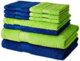 #9: Solimo 100% Cotton 10 piece Towel Set, 500 GSM (Iris Blue and Spring Green)