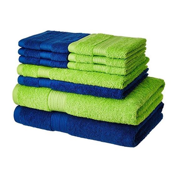 Amazon Brand - Solimo 100% Cotton 10 Piece Towel Set, 500 GSM (Iris Blue and Spring Green)