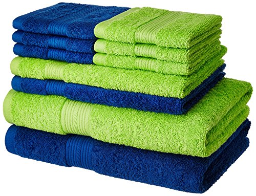 Solimo 100% Cotton 10 Piece Towel Set, 500 GSM (Iris Blue and Spring Green)