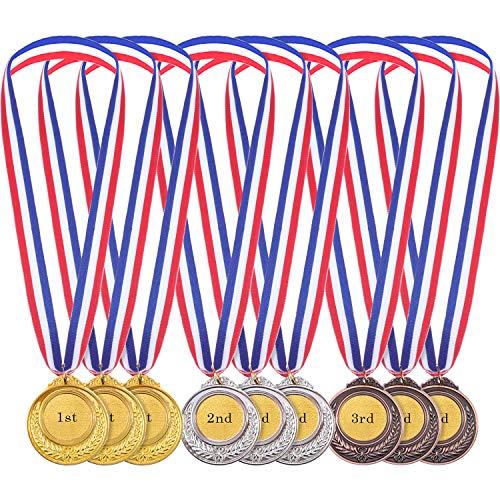 Gold Silber Bronze Olympische Stil Medaille Gewinner Medaillen Gold Silber Bronze Awards für Spiel und Party (12 Stücke)