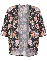 Lee Cooper rosas impresión kimono para mujer negro/rosa camisa blusa chaqueta, negro / rosa, UK 12 (Medium)
