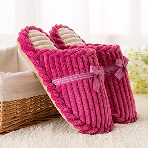 ZHLONG Pantofole donna cotone in autunno e inverno interna ispessita skid muto caldo casa pantofole , rose red , medium