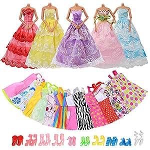 ASIV 5 Parti Robes et 12 Mini Jupes Vêtements et 10 paires de Chaussures pour Barbie Poupée (au Hasard)