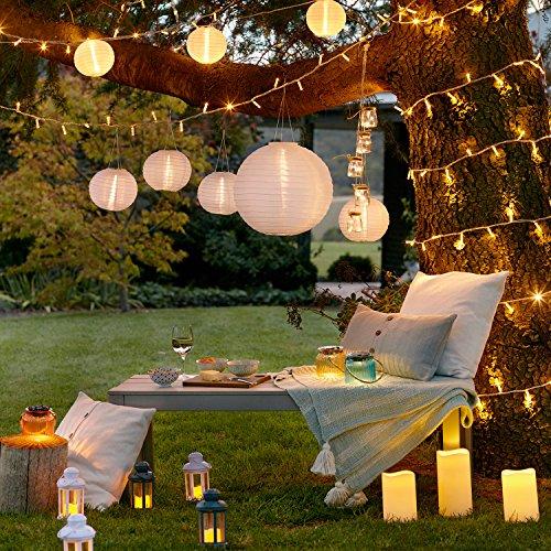 Vela de exterior para decoración de jardín con luz LED y temporizador, de Lights4fun; funciona con batería, altura 17,5 cm