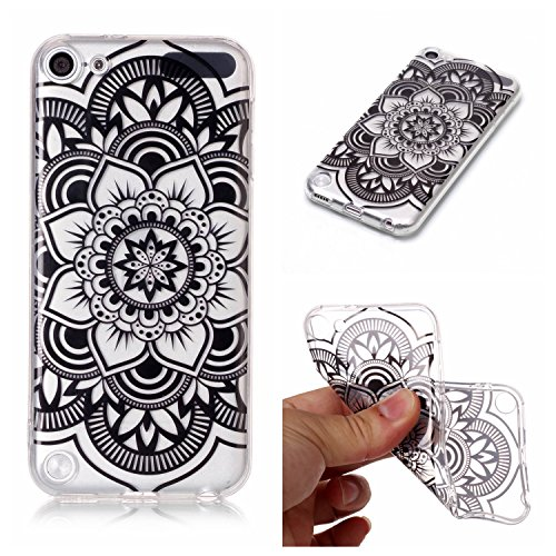Cover iPod Touch 5 / 6 Generation ,Custodia iPod Touch 5 / 6 Generation,Cozy Hut Ultra Sottile Custodia Nottilucenti Luminoso Gel Silicone per iPod Touch 5 / 6 Generation , Ultra Slim Anti Slip Fluore Mandala nera