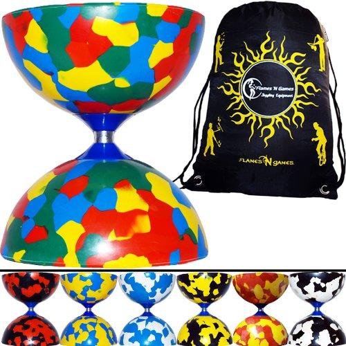 JESTER Diabolo (8 Farbvarianten) + Flames N Games Reisetasche! **Kein Diabolo Handstäbe oder String inklusive. (Mehrfarbig)