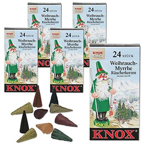 Myrrhe, Weihrauch (5 Päckchen Knox Räucherkerzen - Weihrauch-Myrrhe)
