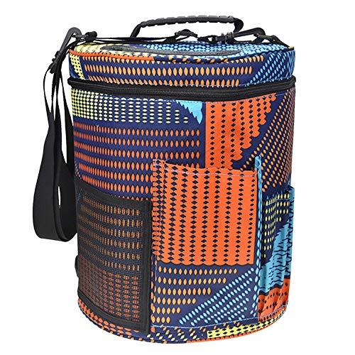 STRIR Bolsa de Ovillos bolso de Crochet Mochila de Almacenamiento de Punto - Bolsa para hilos de tejer/ganchillo portátil, ligera y fácil de transportar con bolsillos para accesorios y ranuras en la parte superior para dispensar la lana, que protegen el h