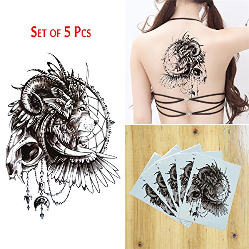 COKOHAPPY 5 Sheet Temporäre Tattoo Groß Tattoo Löwe Dream Catcher Flash Tattoo (Löwe Kostüm Männer Diy)