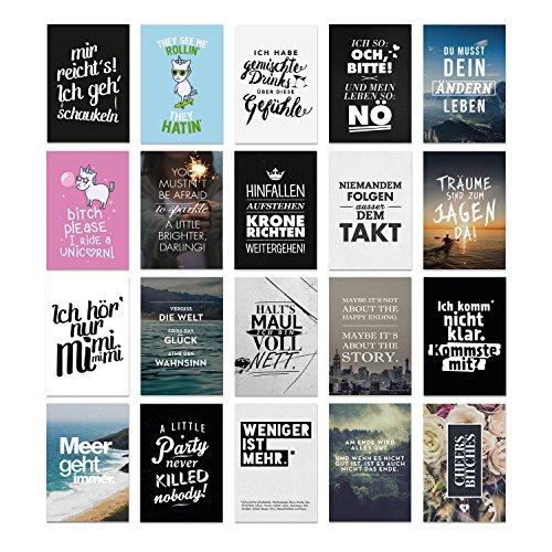 20er Postkarten Set ATTITUDE mit Sprüchen von VISUAL STATEMENTS® / Verschiedene Varianten / Hochwertige Spruchkarten / 350g Bilderdruckkarton / 12 x 17,5 cm (XXL) / 20 verschiedene Motive / Set ATTITUDE
