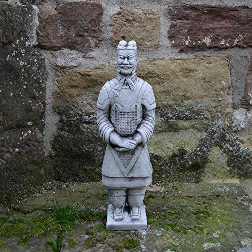 gartendekoparadies.de Chinesischer Terrakotta Krieger Soldat Zen Tempelkrieger Qin aus Steinguss, f.