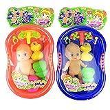 Momola Accessoires de douche de poupée de chéri réglés dans le baquet de bain avec des gosses feignent le jouet de jeu de rôle
