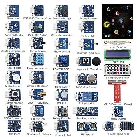 SunFounder 37 Modules Sensor Kit V2.0 for Raspberry Pi 3, 2 and RPi Model B+, 40-Pin GPIO Extension Board Jump (3 Modul Kit)