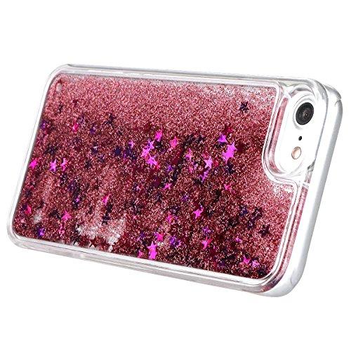 """xhorizon MLK Couverture housse avec arrière dure avec dessin de sables mouvants liquides dynamiques bling et étoiles scintillantes pour iPhone 7 / iPhone 8 [4.7""""] avec un stylet et film en trempé 9H Rose"""