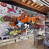Qwerlp 3D Cartoon Big Truck Gebrochene Wand Heraus Wandgemälde Für Kinder Sphoto Tapete Zimmer Sofa Hintergrund Tapeten Wandbilder-260Cmx195Cm