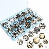 100juegos botones de Jeans, Ruix Metal Tack Botones de repuesto Kit con caja, botones de Metal para varios tamaños de costura para tejer manualidades