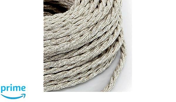 5 Mt Cavo elettrico Treccia Trecciato stile vintage rivestito in tessuto colorato Bianco sezione 2x0,75 per lampadari design lampade Made in Italy abat jour